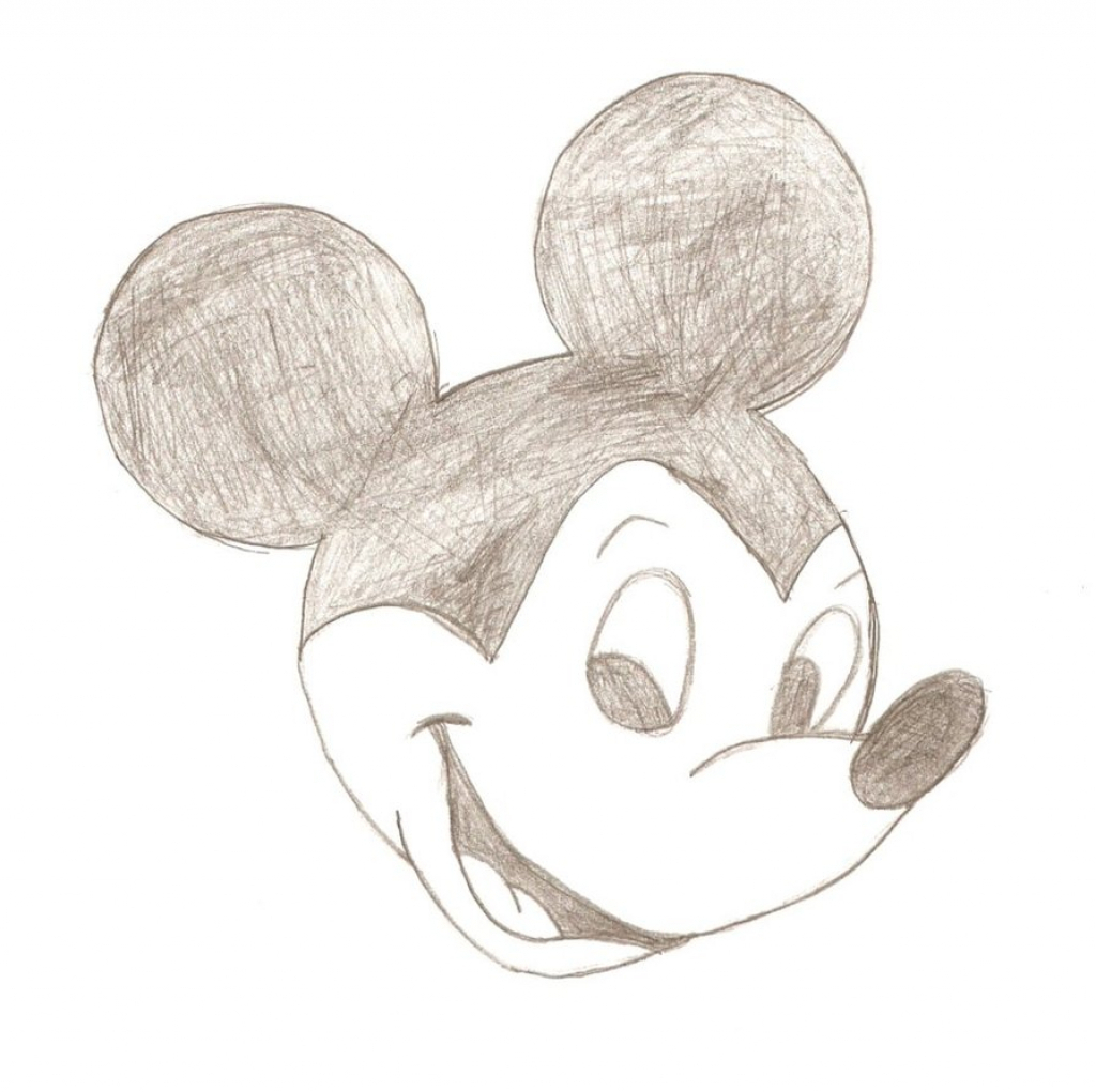 1024x1021 Simple Pencil Sketch Of Mickey Mouse Simple Mickey Mouse Pencil