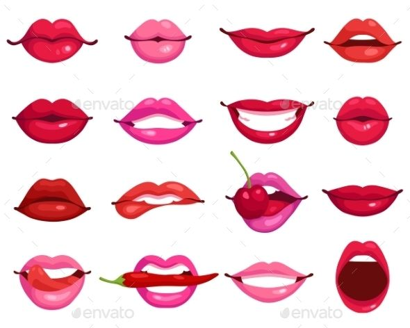 590x472 Lips Cartoon Set Symbols, Lips And Cartoon