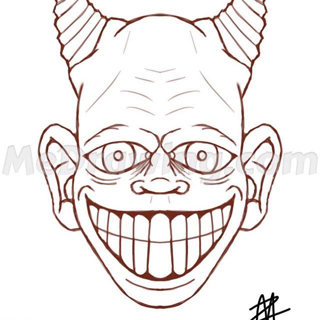 640x640 Cartoon Demon Head Pencil Sketch