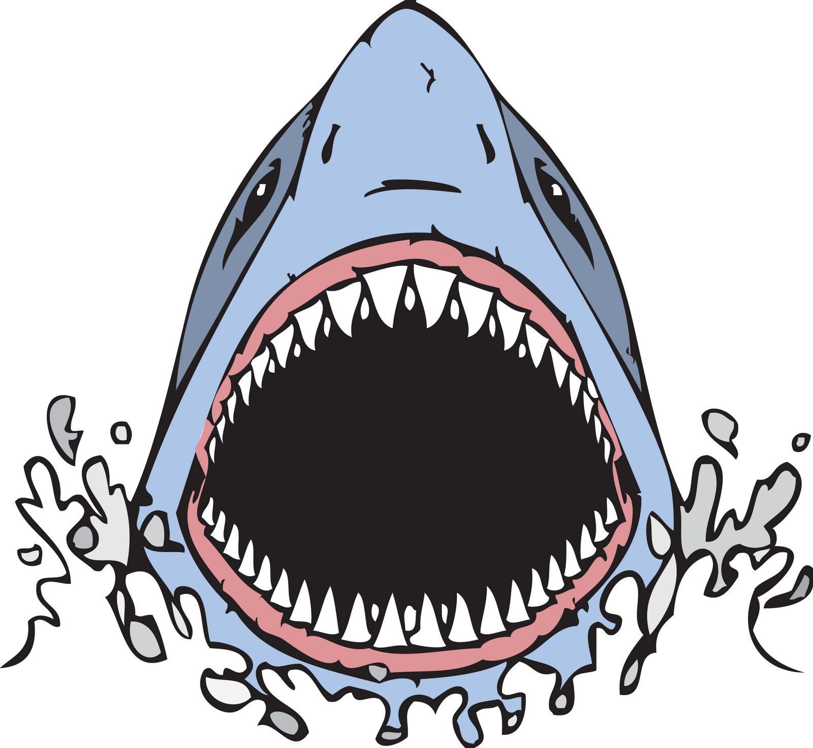1600x1472 Open Mouth Front View Drawing Great White Shark Clipart Mouth Open