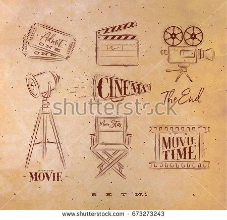 450x436 Cinema Symbols Ticket, Clapperboard, Movie Camera, Horn