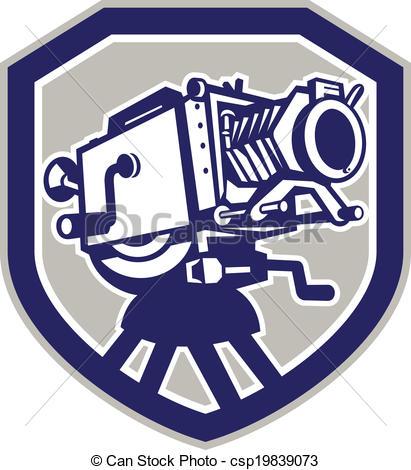 411x470 Movie Film Camera Vintage Shield. Illustration Of A Vintage