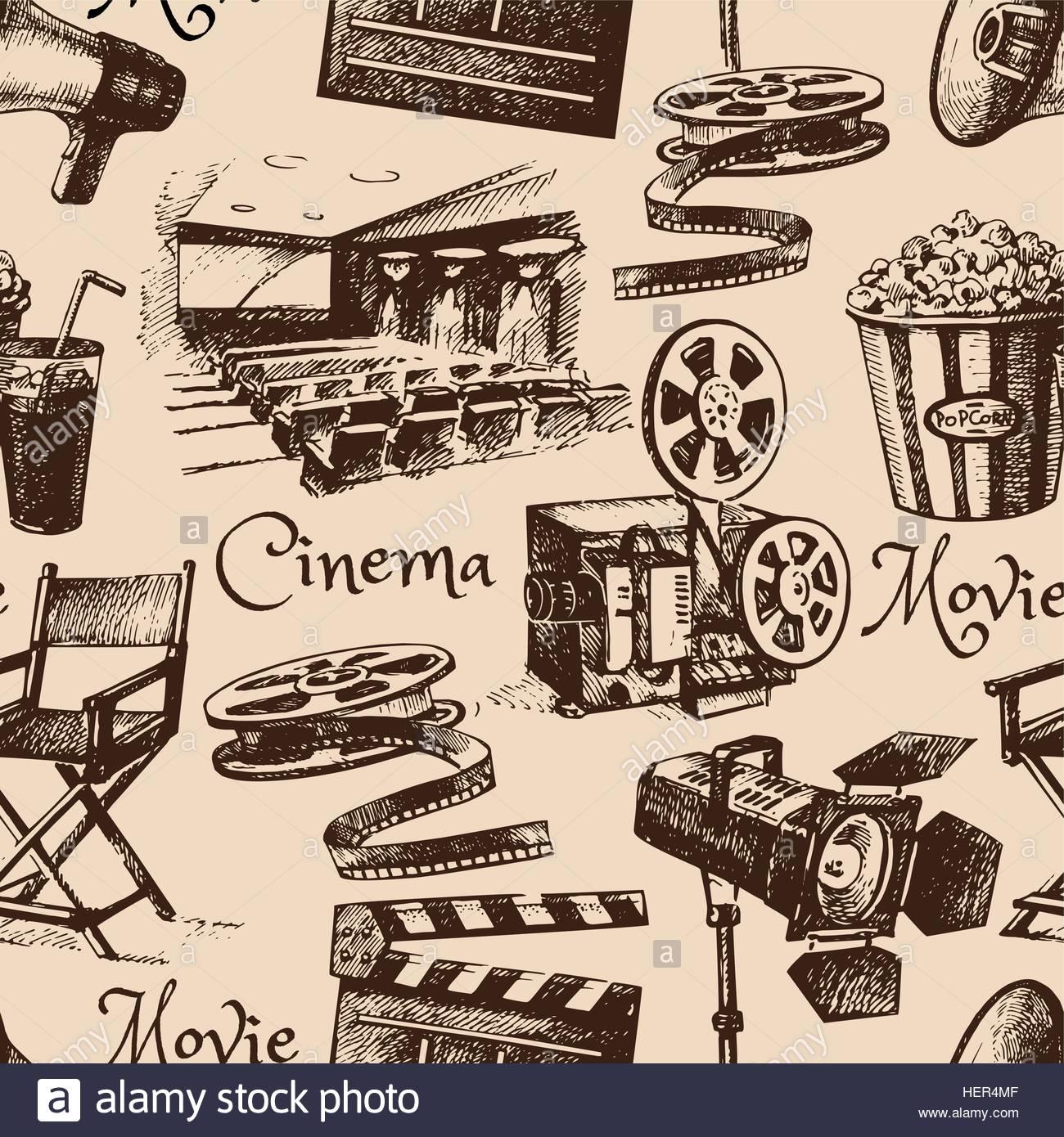 1300x1390 Movie Film Cinema Seamless Pattern. Hand Drawn Vintage