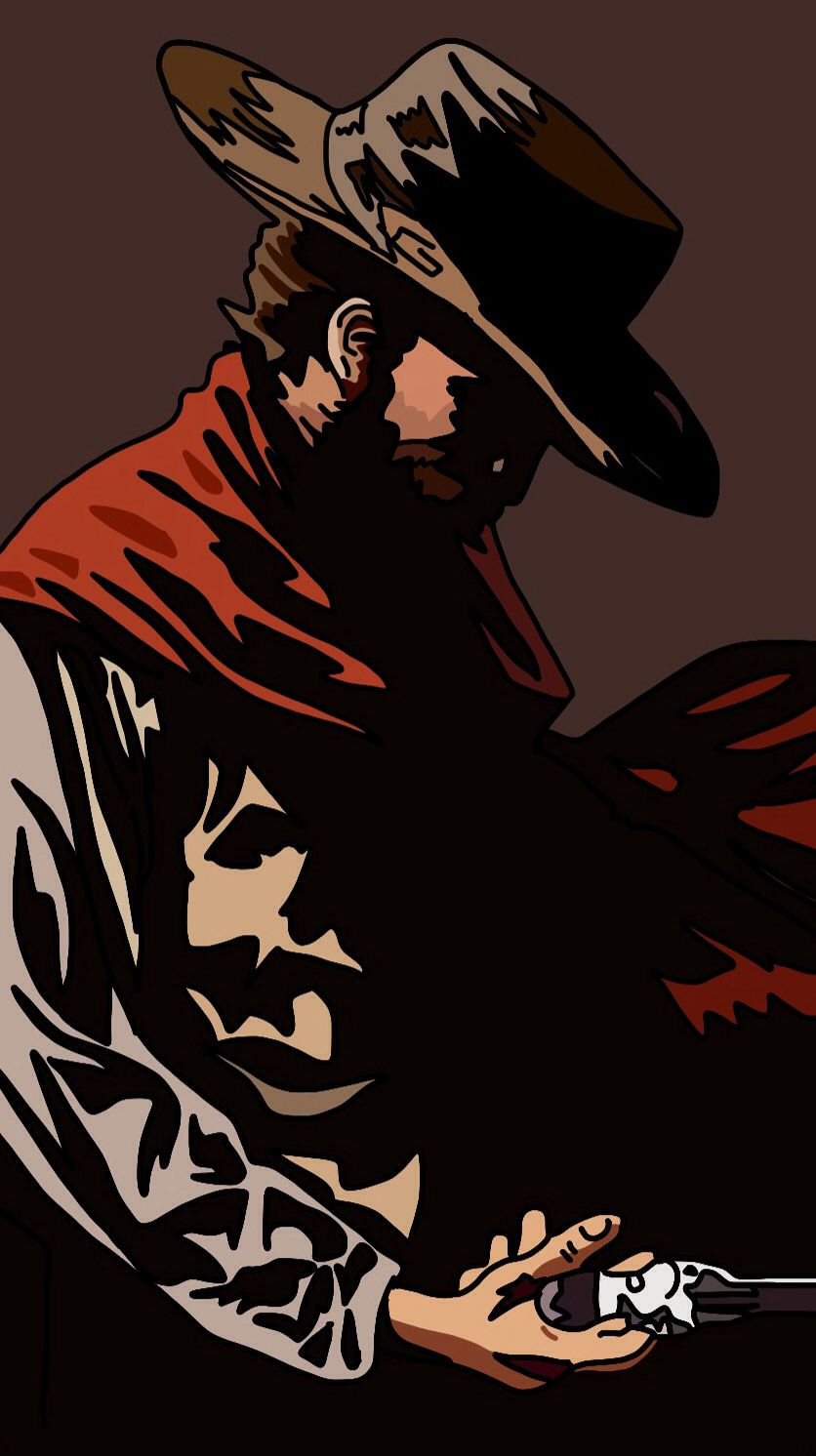 836x1492 Western, Clint Eastwood, Art, Illustration, Movie, Film Drawings