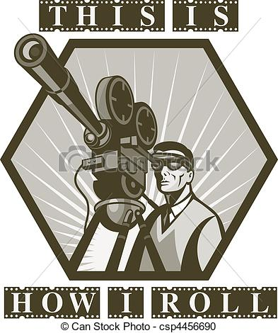 393x470 Illustration Of A Vintage Movie Or Television Film Camera Stock