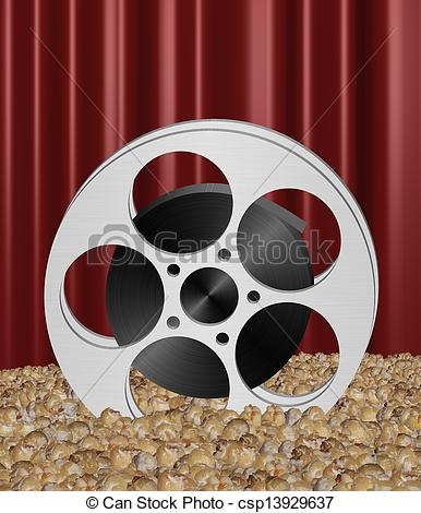 386x470 Illustration Of A Movie Reel In Popcorn Drawings