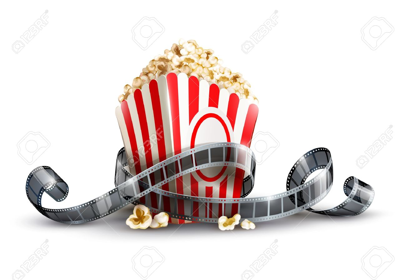 1300x896 Paper Bag With Popcorn And Movie Reel Vector Illustration Isolated