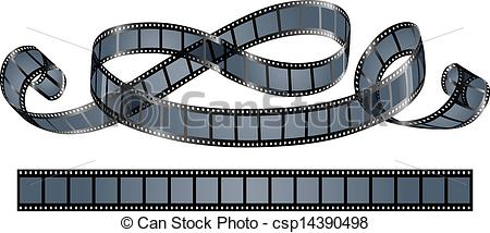 450x214 Twisted Film Reel Isolated On White Background
