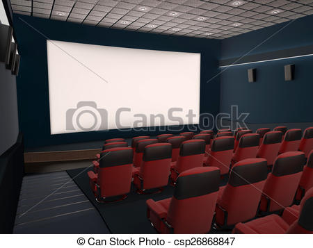 450x357 Empty Movie Theater With Red Seats Drawing