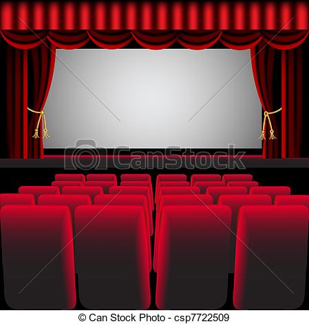 449x470 Illustration Cinema Hall With Red Curtain And Easy Chair Eps