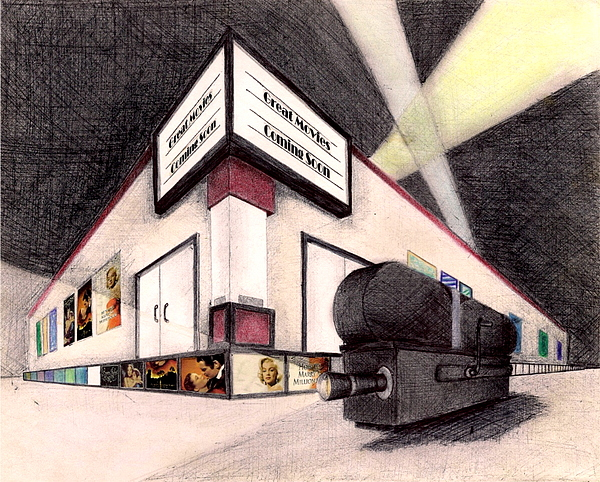 600x482 Movie Theater Drawing By Scarlett Royal