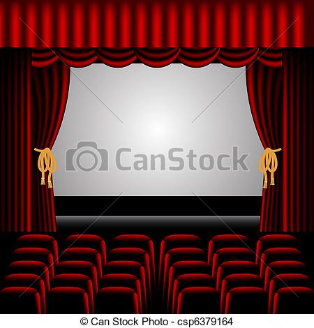 450x470 Theatre Stage, With Red Curtains Surrounding And Rows