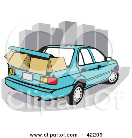 450x470 Blue Car With Moving Boxes Packed In The Trunk, Near City
