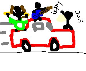 300x250 Rock Concert On A Moving Car (Drawing By Whispernmyghost)