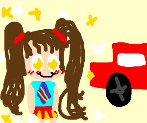 300x250 School Girl Heads Toward A Moving Car (Drawing By Narnar)