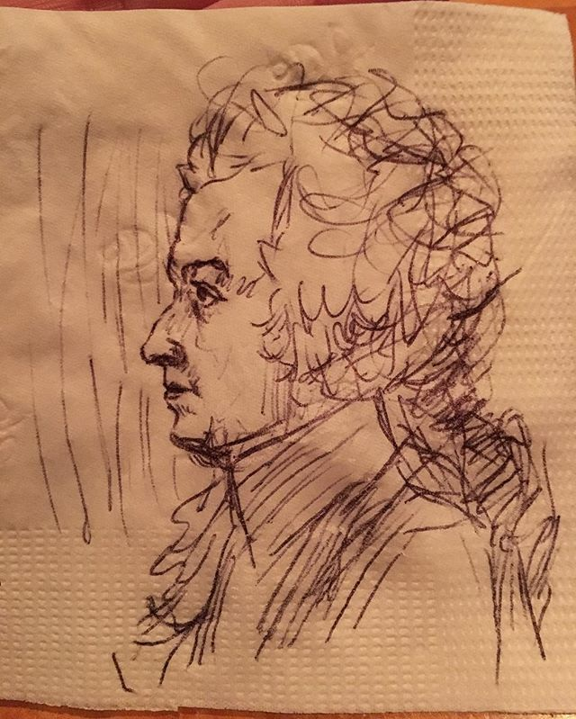 640x799 A Medium Sized Mozart On A Flower Stamped Napkin, After A Drawing