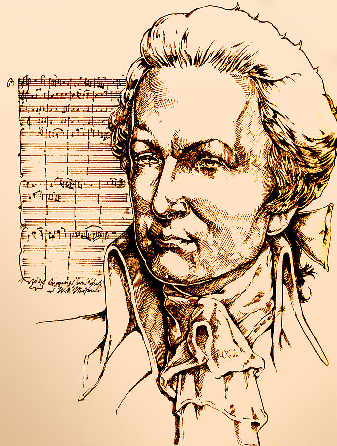 682x900 Mozart Drawing By Derrick Higgins