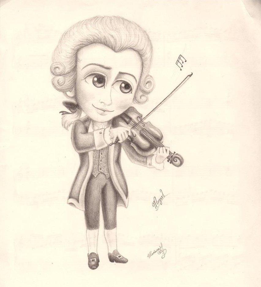 852x938 Mozart Caricatura By Marianachopin1812
