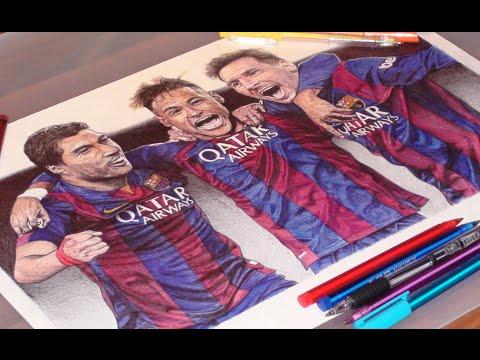 480x360 Messi, Suarez, Neymar Pen Drawing