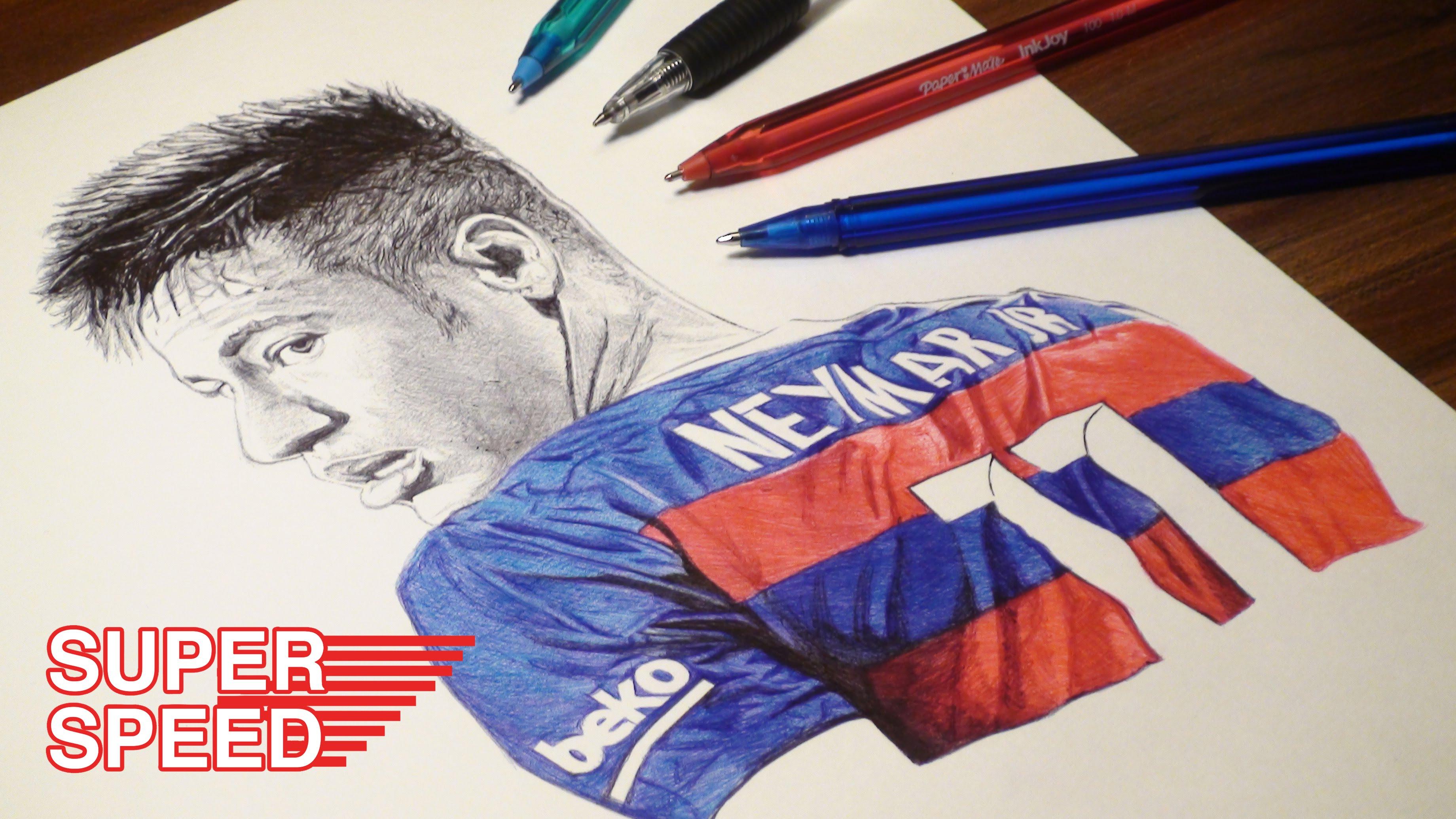 3680x2070 Neymar Pen Drawing