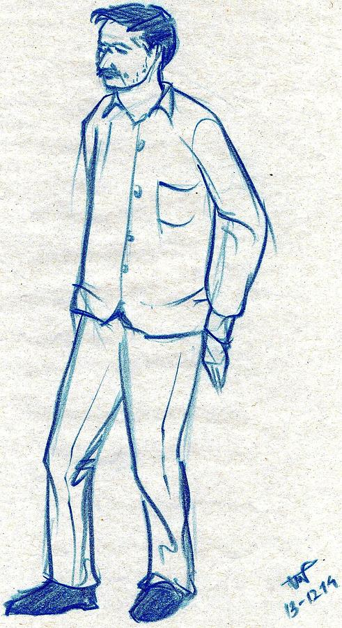 491x900 Blue Sketch Of A Man Standing Against A Wall Drawing By Makarand Joshi