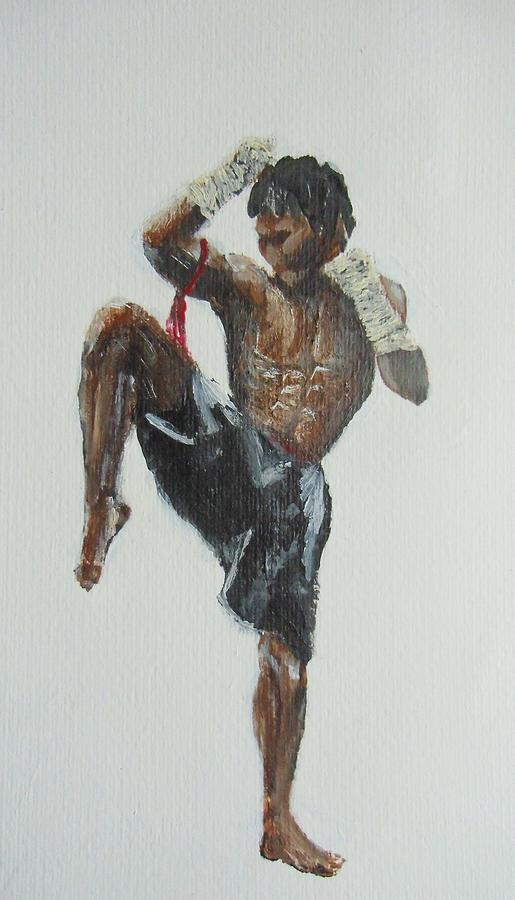 515x900 Muay Thai Fighter Painting By Rafal Kilimnik