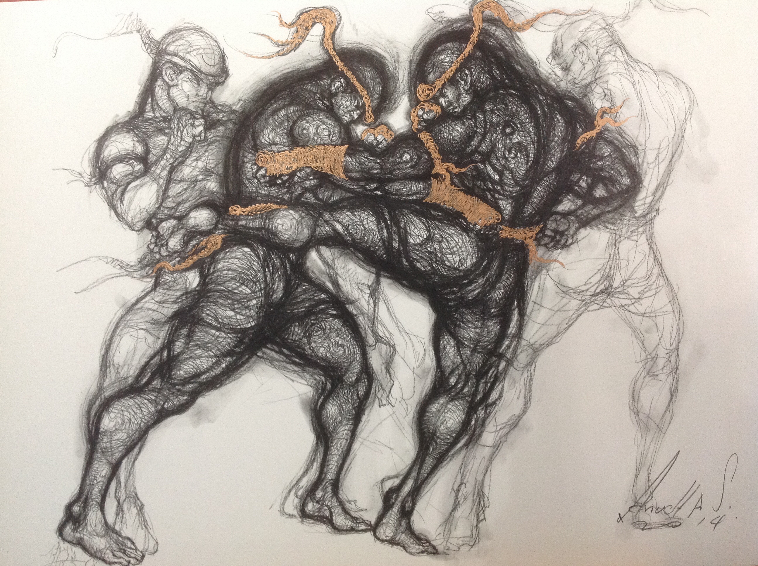 2592x1936 Muay Thai Fighting. Charcoal Pencil Drawing On Paper. Size 80x120