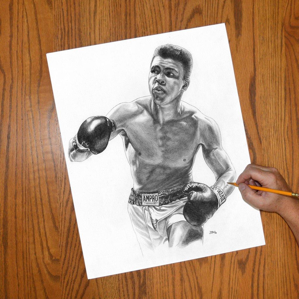 1024x1024 Cassius Clay Champ Muhammed Ali Jon Brown Art Jwb Art Unlimited