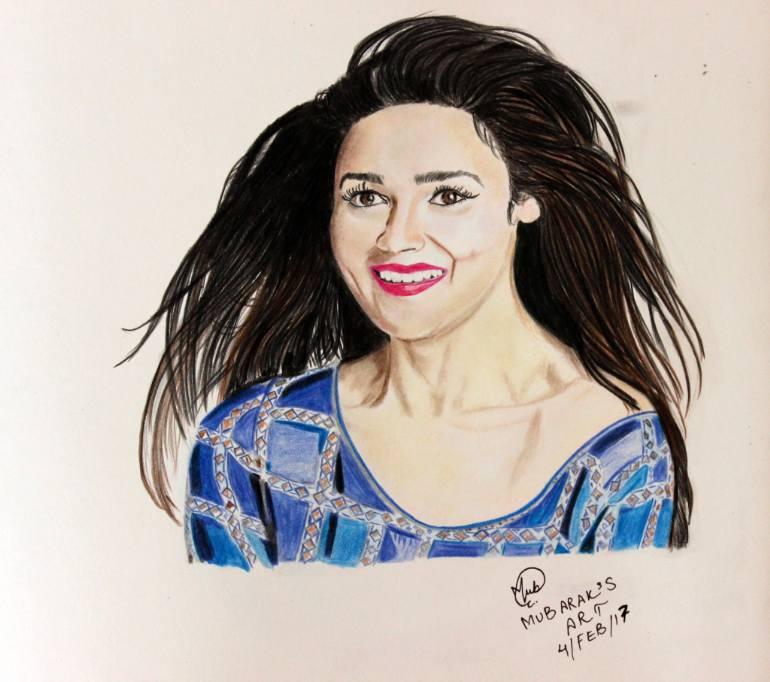 770x682 Saatchi Art Alia Bhatt Colorful Artwork Drawing By Mubarak