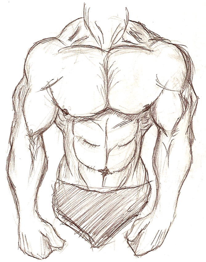 669x850 Muscular Body Sketch By Sixarmedwerewolf