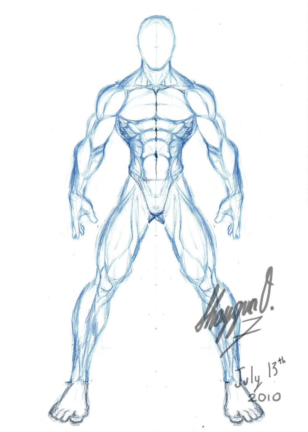 1000x1400 Male Body Drawing Template Male Anatomy Template Front Concept