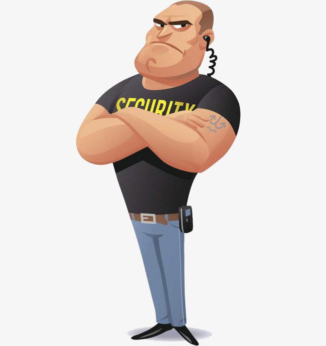 650x690 Bodyguard Muscle Man, Bodyguard, Solemn Expression, Cartoon Hand