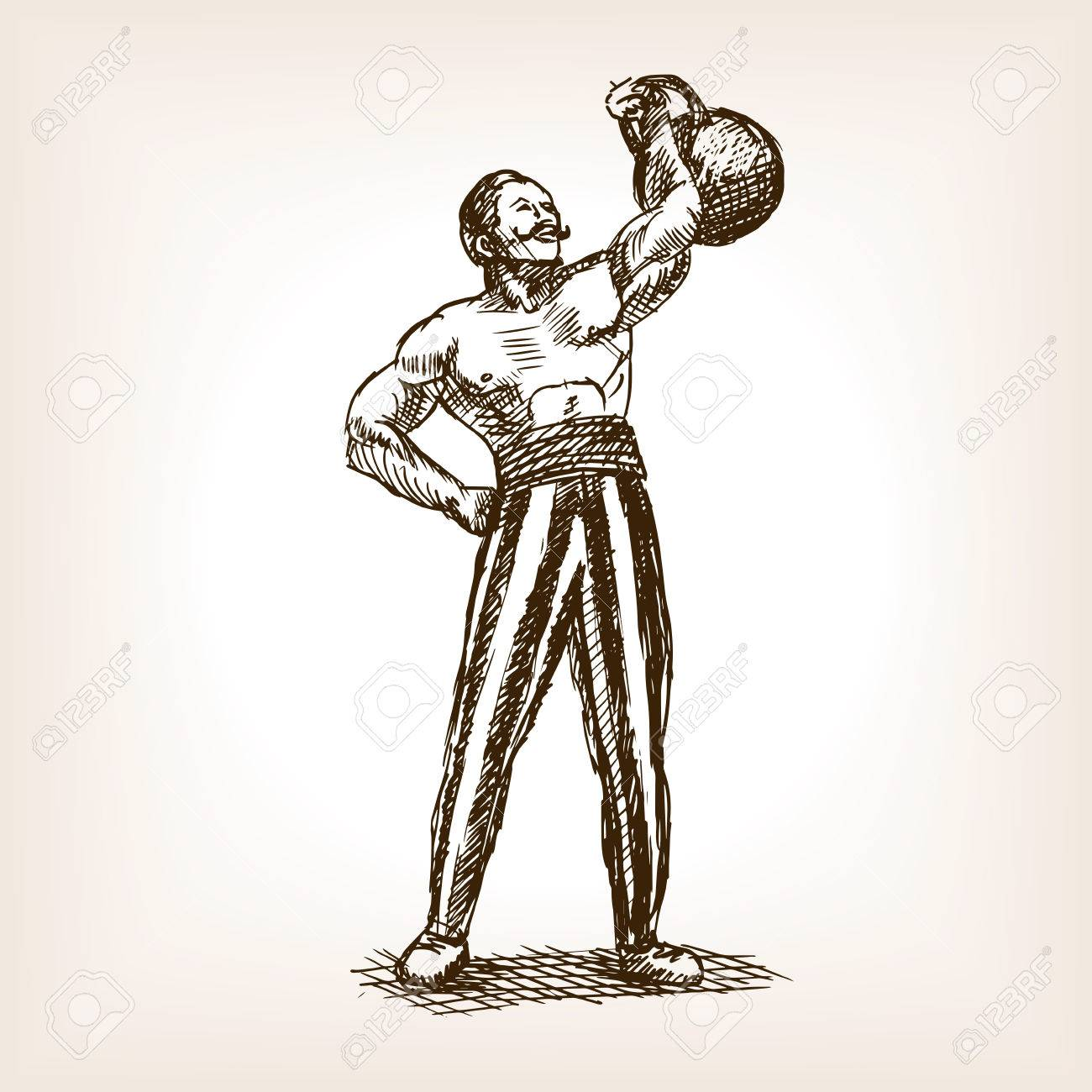 1300x1300 Strong Man With Kettlebell Sketch Style Vector Illustration
