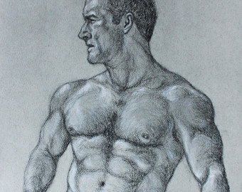 340x270 Male Nude Drawing Etsy
