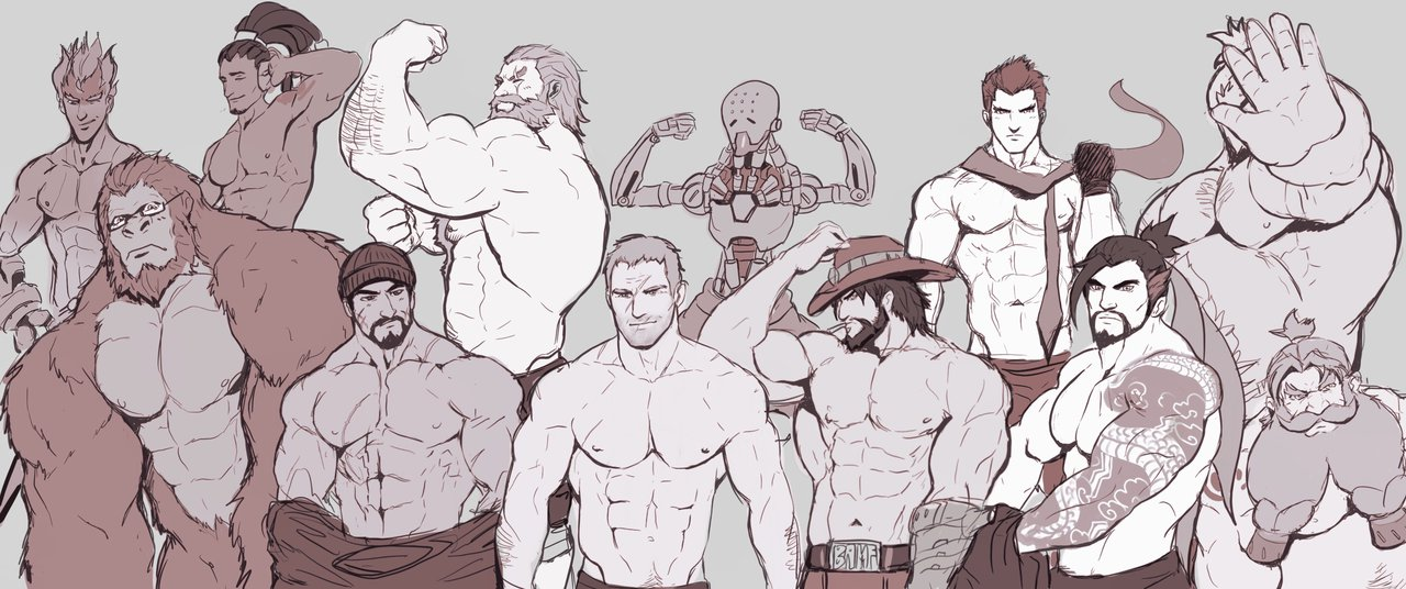 1280x536 Overwatch Blokes Shirtless Version By Iblokes