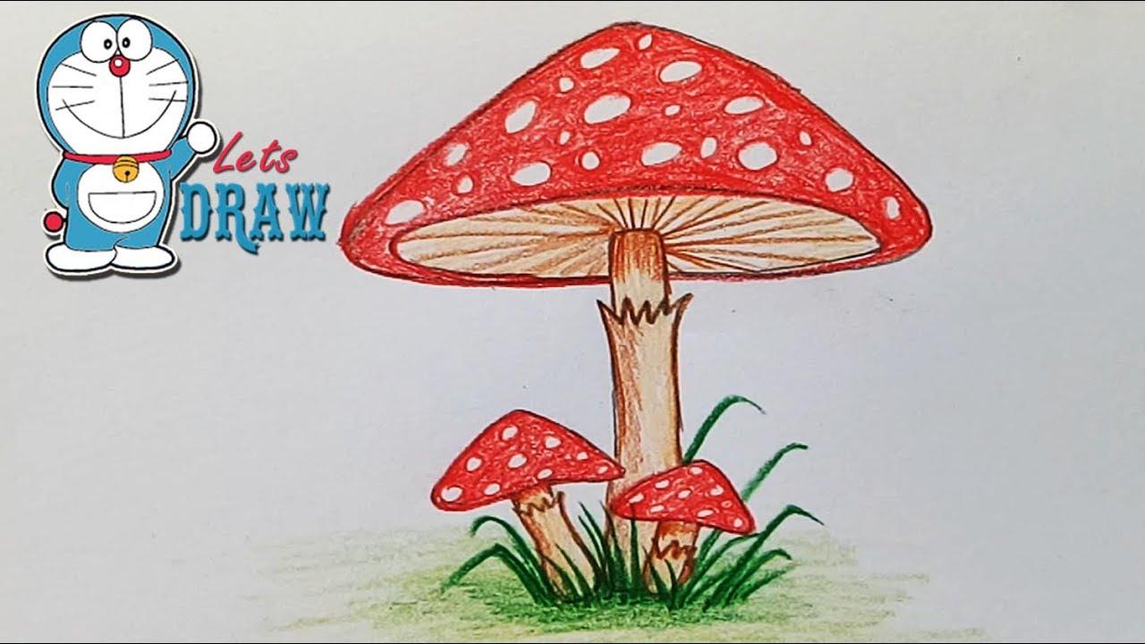 1280x720 How To Draw Mushroom Step By Step (Very Easy)