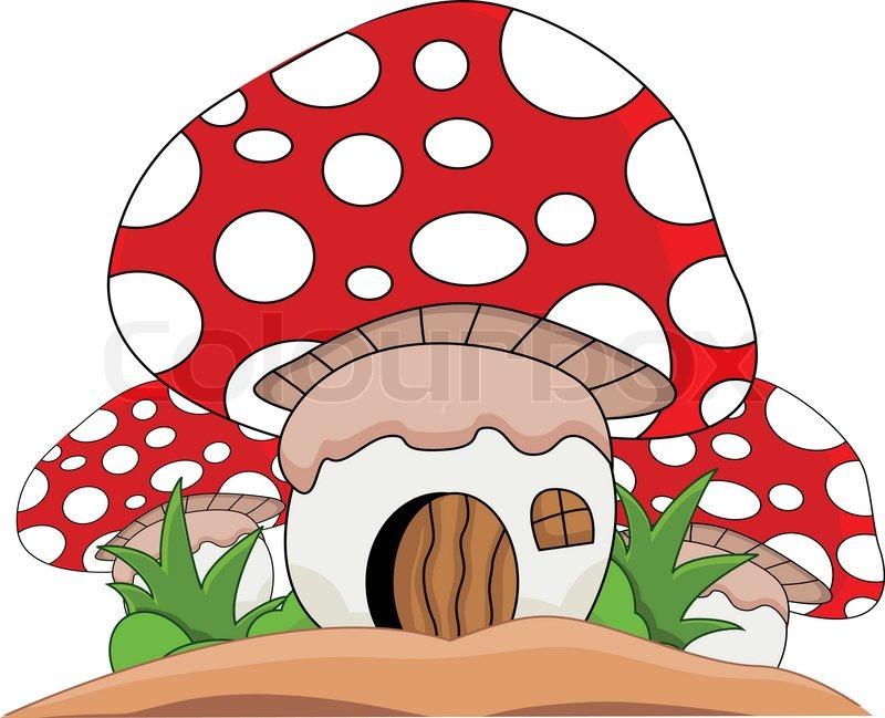 800x649 Cartoon Mushroom House Stock Vector Colourbox