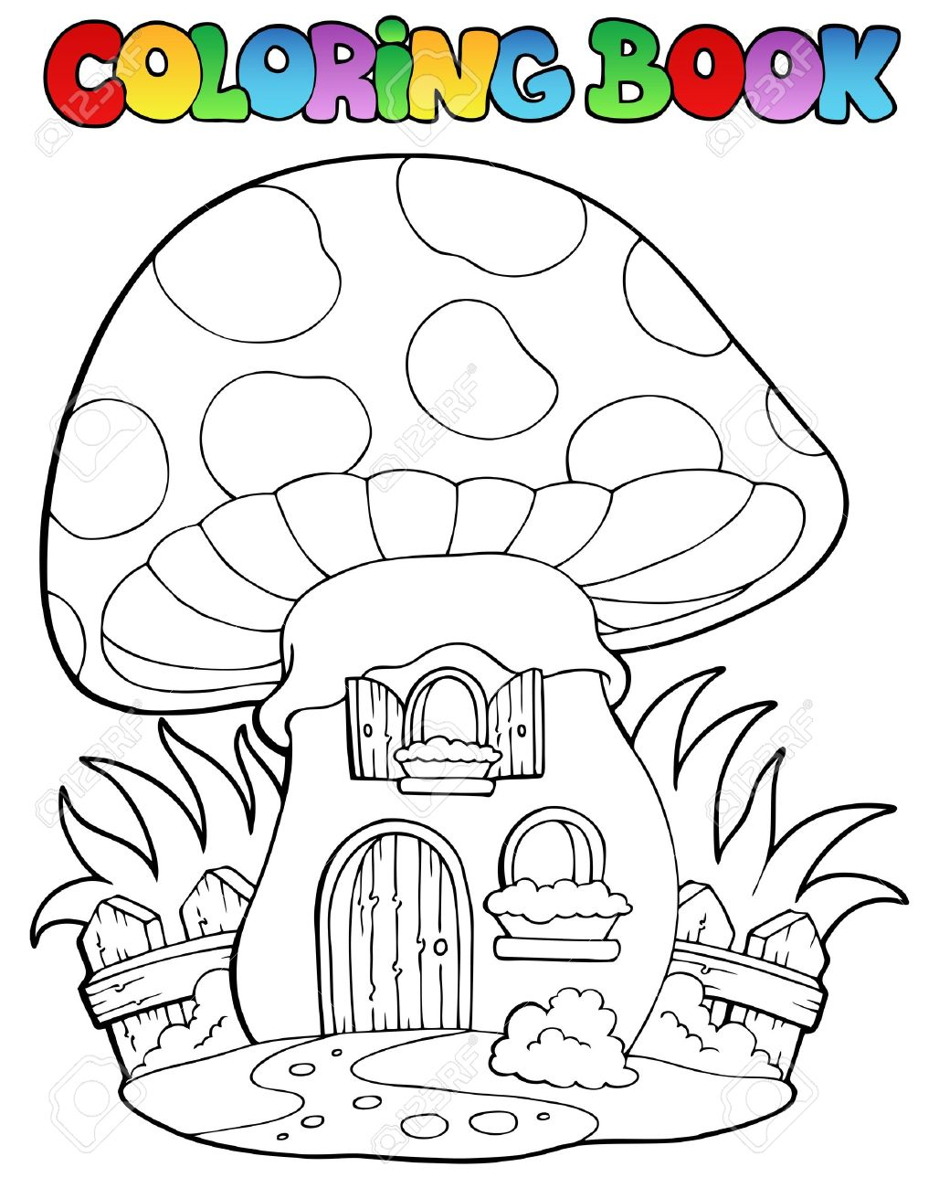 1028x1300 Coloring Book Mushroom House