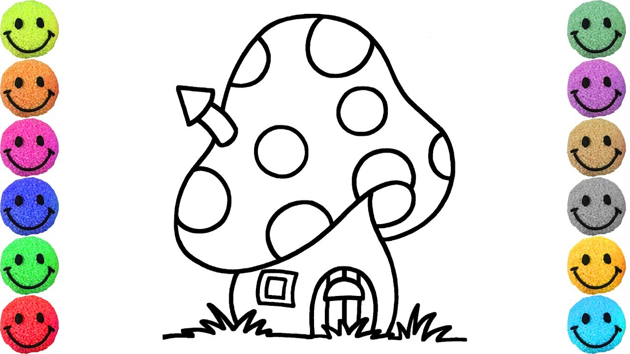 1280x720 Coloring Pages Mushroom House