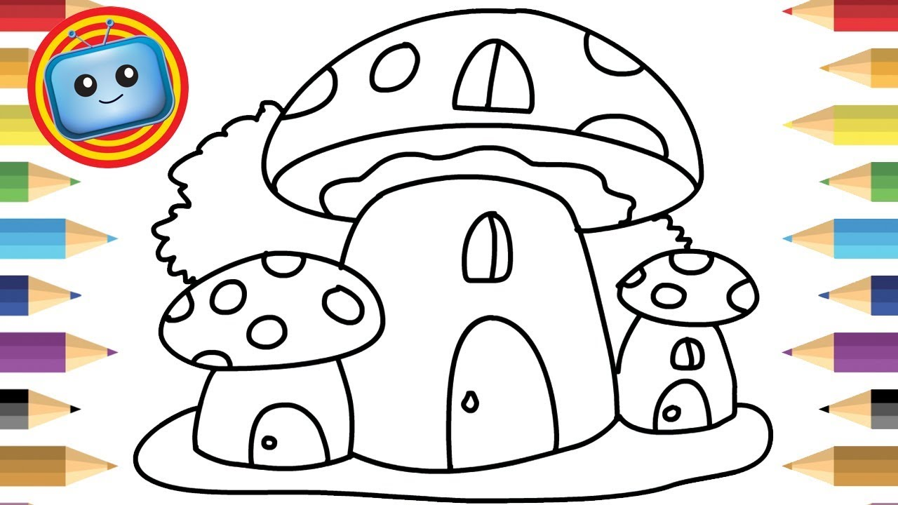 1280x720 How To Draw A Mushroom House Colouring Book Simple Drawing