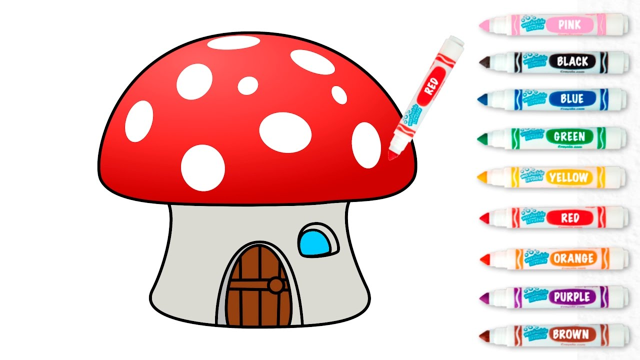 1280x720 Mushroom House Drawing And Coloring For Kids. How To Learn To Draw