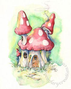 236x295 Mushroom House Fantasy Fairy Tale 11x14 Fine Art Print Mushroom