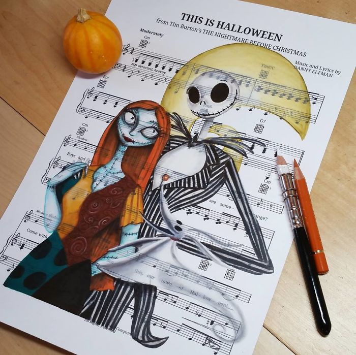 700x699 I Draw Scenes From Famous Animated Movies On Music Sheets Of Their