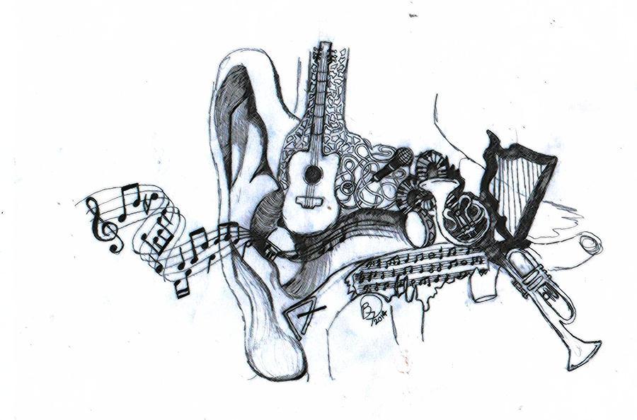 900x594 Music To My Ears Drawing By Becca Fieken