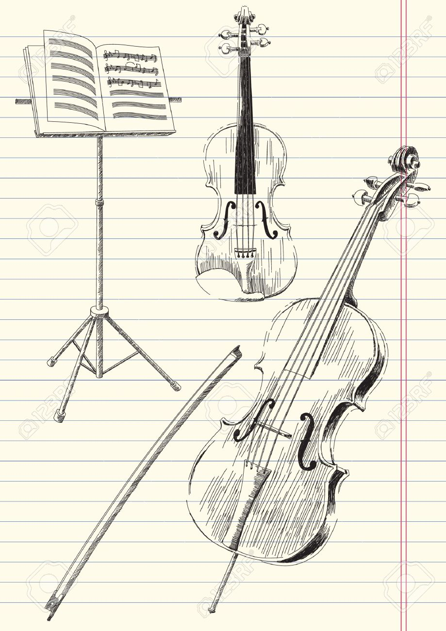 919x1300 Black And White Drawing Of Classical Stringed Music Instruments