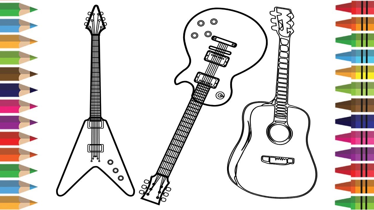 1280x720 How To Draw Guitar For Kids, Drawing Musical Instruments Coloring