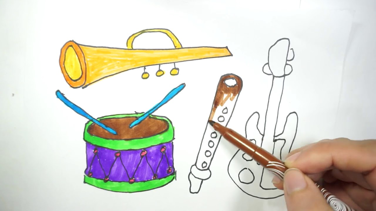 1280x720 How To Draw Musical Instrument Musical Instruments Step By Step