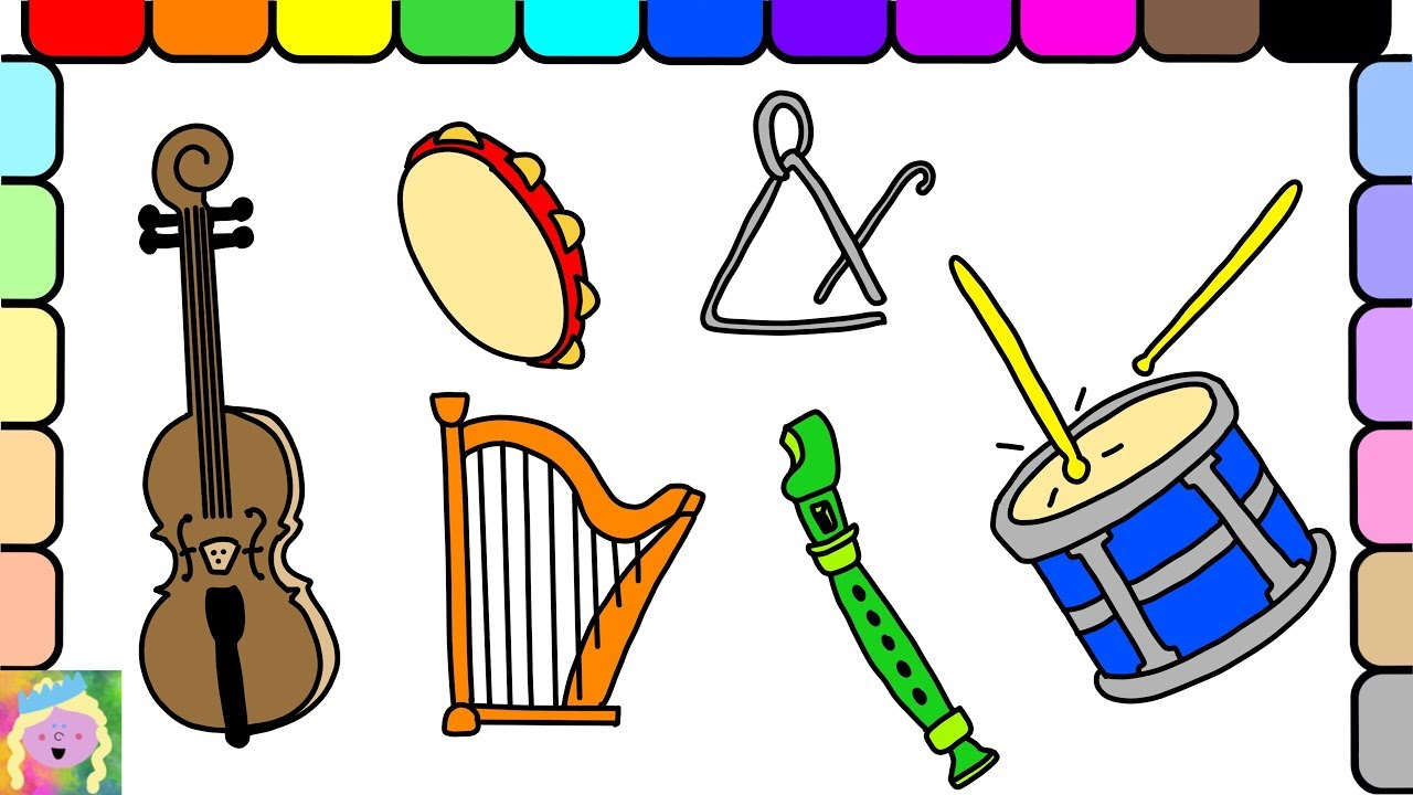 1280x720 Learn How To Draw And Color Musical Instruments And Learn Colors