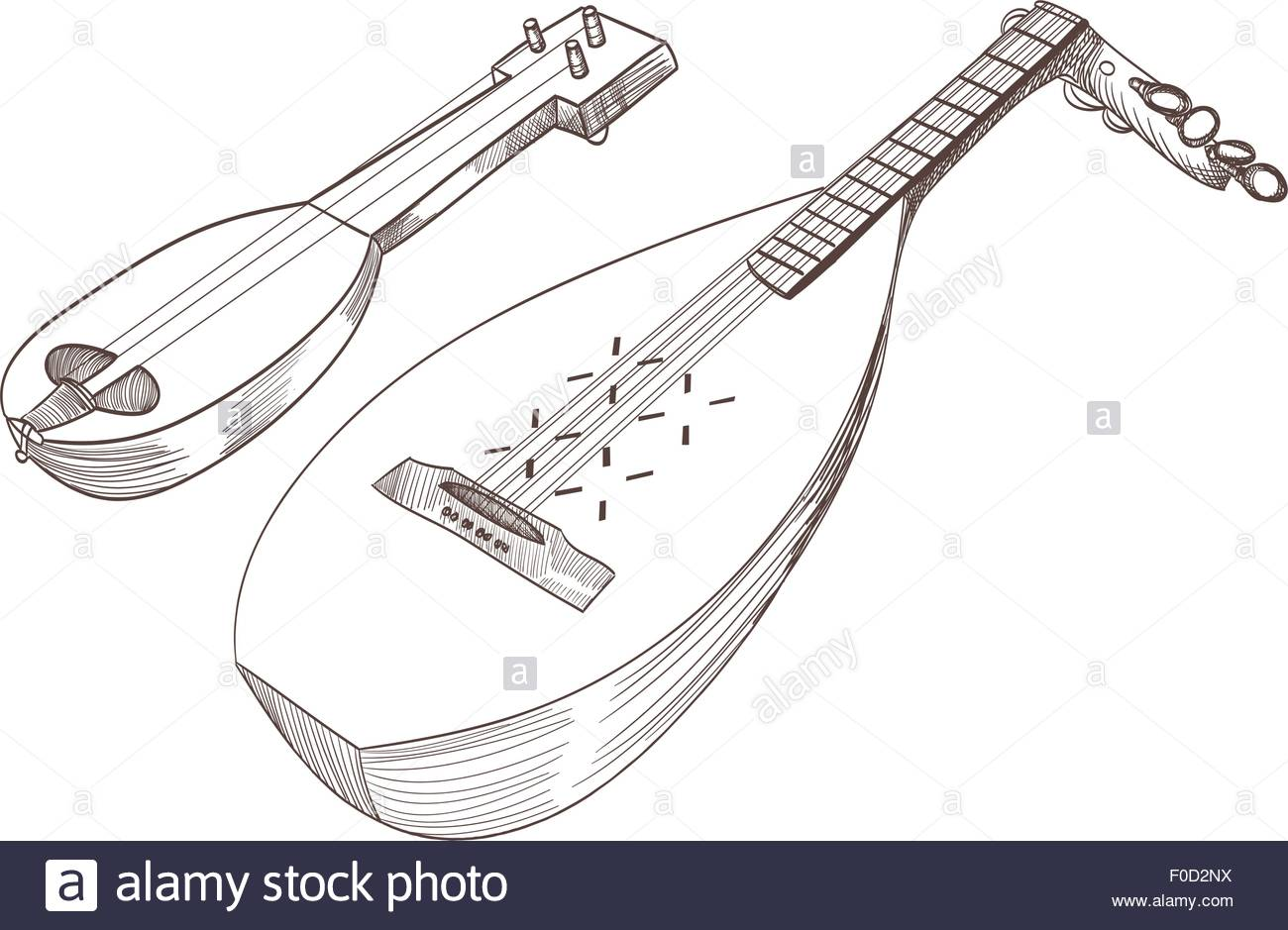 1300x939 Cobza Musical Stringed Instruments Drawing Stock Vector Art