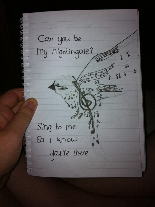 500x669 Bird Nightingale Musicnote Music Note Draw Drawing Love